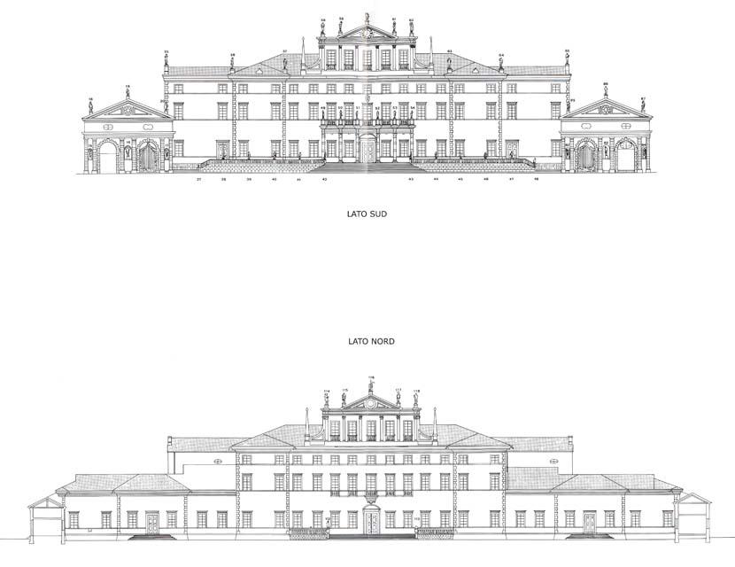 I disegni tecnici prospetto delle facciate di villa with for Disegni di ville